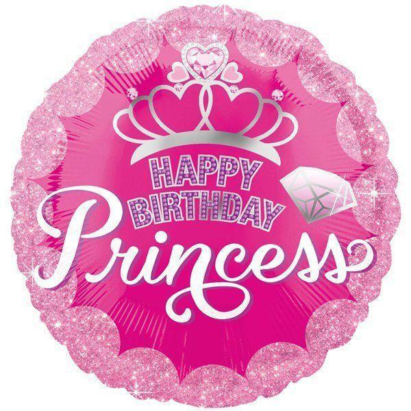 """Круг 18"""" ANAGRAM-АН Happy Birthday Princess - корона на розовом (УП)"""