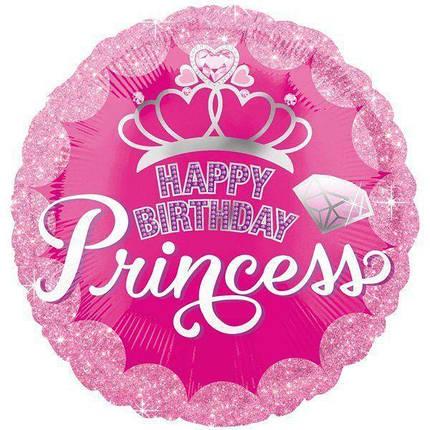 """Круг 18"""" ANAGRAM-АН Happy Birthday Princess - корона на розовом (УП), фото 2"""