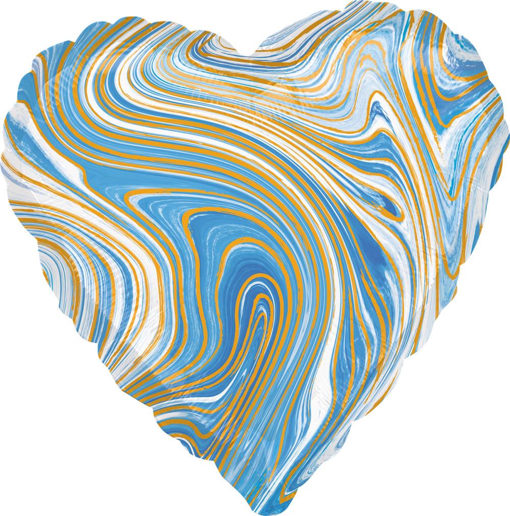 """Фол куля Anagram 18"""" Серце агат блакитний / blue marble (Анаграм)"""