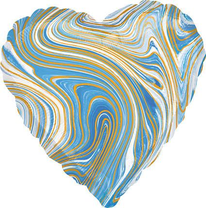 "Фол куля Anagram 18"" Серце агат блакитний / blue marble (Анаграм), фото 2"