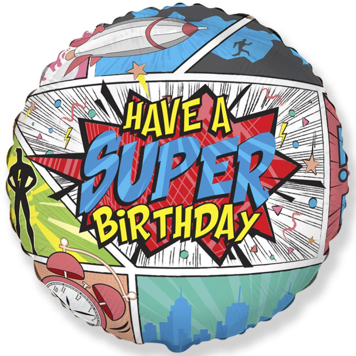 "Фол куля Flexmetal 18"" Коло HAVE A SUPER BIRTHDAY / Супер свято (ФМ)"