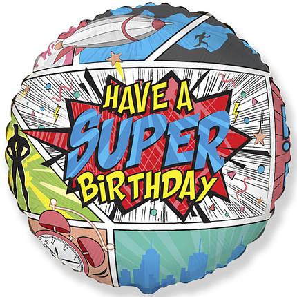 "Фол куля Flexmetal 18"" Коло HAVE A SUPER BIRTHDAY / Супер свято (ФМ), фото 2"