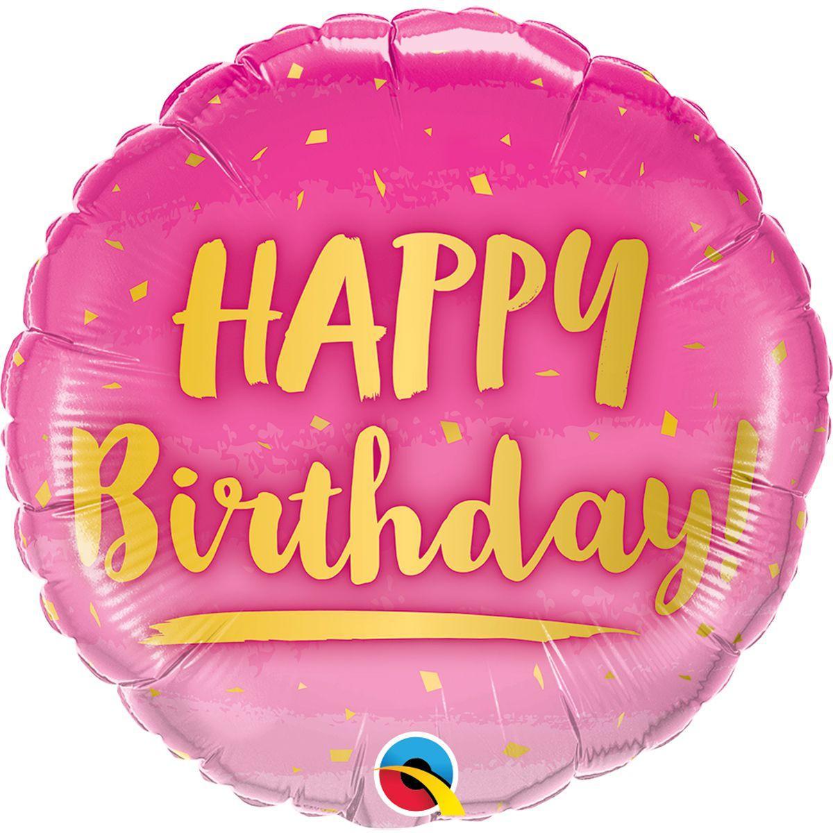 """Фол куля Qualatex 18"""" Коло Рожевий з золотим написом """"Happy birthday"""" (Квалатекс)"""