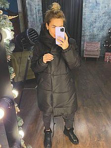 Р. 42-48 Женская зимняя куртка зефирка длинная черная
