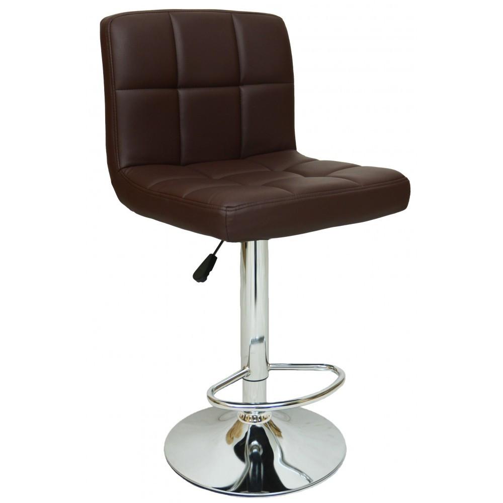 Барний стілець хокер металевий з хромованою ніжкою плавне регулювання висоти коричневий