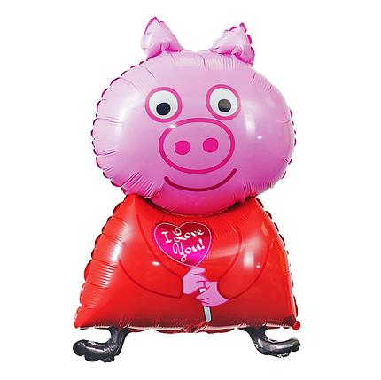 Фол куля фігура Свинка Пеппа з сердечком Рожева (ФМ), фото 2