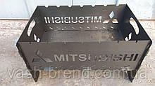 Автомобильный портативный складной мангал с чехлом кр-1 mitsubishi на 7 шампуров
