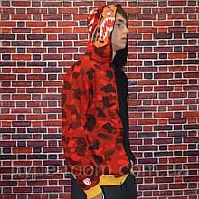 Мужская кофта с капюшоном Bape худи с акулой с ярким дизайном