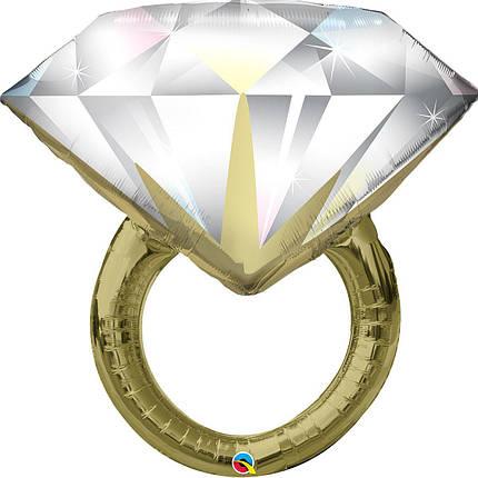Фол куля фігура Обручку з великим діамантом Золото (Qualatex), фото 2