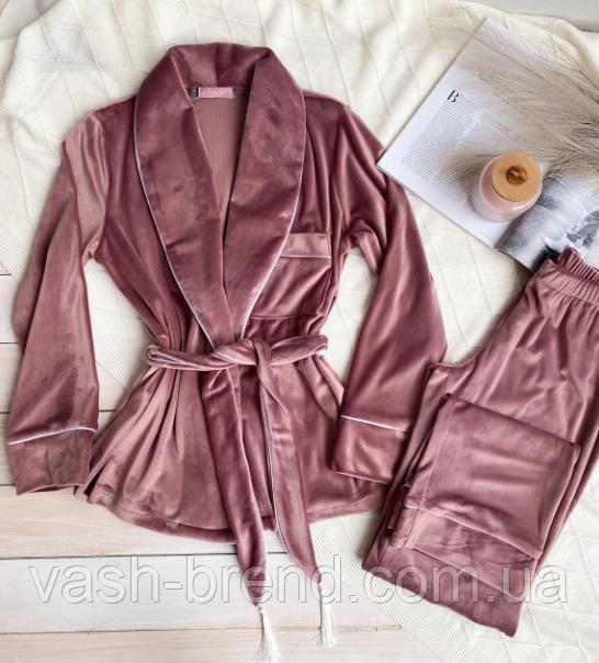 Домашний женский плюшевый комплект халат и штаны