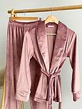 Домашний женский плюшевый комплект халат и штаны, фото 2