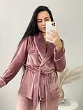 Домашний женский плюшевый комплект халат и штаны, фото 3