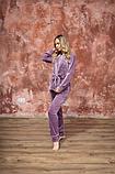 Домашний женский плюшевый комплект халат и штаны, фото 5