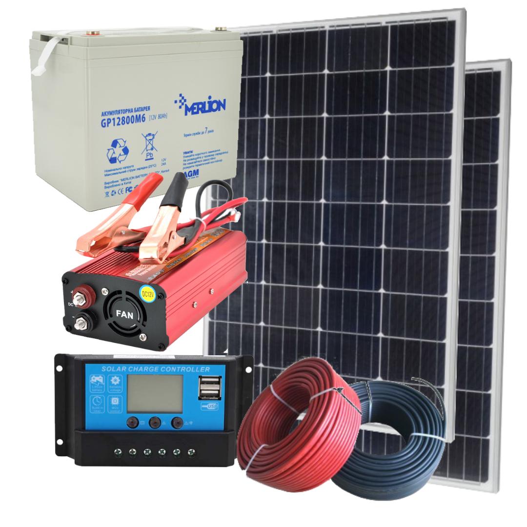 260 Вт автономна сонячна електростанція комплект Кемпінг-260 з інвертором 1800 Вт і резервом АКБ для