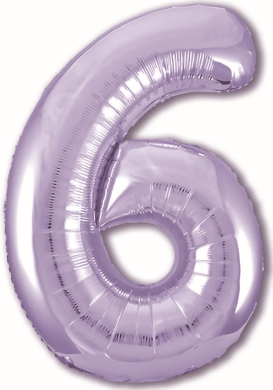 Шар ЦИФРА Agura Slim 6 Пастельный фиолетовый (Агура)