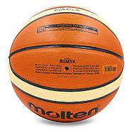 Мяч баскетбольный PU №5 MOLTEN BGM5X (PU, бутил, оранжевый-бежевый), фото 2