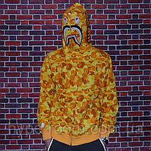 Мужская кофта с капюшоном Bape PUBG худи с акулой с ярким дизайном