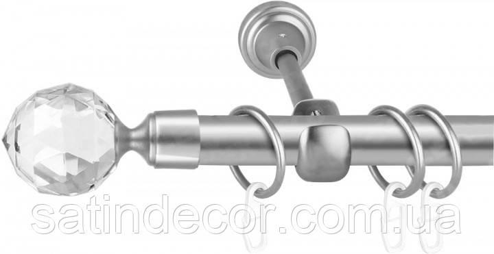 Карниз для штор металлический ЛЮМИЕРА однорядный 25мм 3.6м Сатин никель
