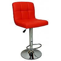Барный стул для барной стойки хокер с спинкой на кухню кресло барное высокое Hoker экокожа Bonro B 628 красный