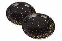 (Цена за 10 шт.) Одноразовае бумажные тарелки Collomia 18см, черные, бумажные тарелки, фото 1
