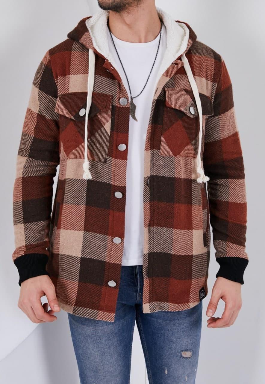 Тепла чоловіча сорочка в клітку Ламбо коричнево-бежева
