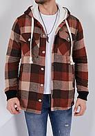 Теплая куртка рубашка в клетку Ламбо коричнево-бежевая, фото 1