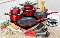 Набор кастрюль (казанов) с мраморным покрытием Edenberg EB-5619 Набор кухонной посуды 15 предметов Красный