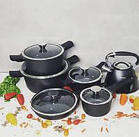 Набор кастрюль (казанов) с мраморным покрытием Edenberg EB-5632 Набор кухонной посуды 10 предметов Черный