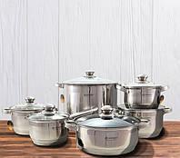 Набор кухонной посуды из нержавеющей стали 12 предметов Edenberg EB-2401 Набор кастрюль для индукционной плиты