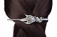 Заколка - стрела с камнями для волос Brodiaea 13см, металлическая, серая, заколка для волос, фото 1
