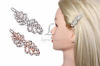 (Цена за 12 шт.) Заколка - зажим с камнями для волос Firmiana разные цвета, металл, заколки женские для волос, фото 1
