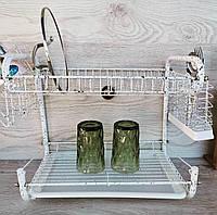 Сушка для посуды из нержавейки двухъярусная Edenberg EB-2108M Сушка для посуды настольная Белая