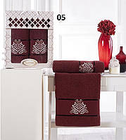 Набор полотенец Gulcan Damask махровые 50-90 см-1шт,70-140 см-1 шт. бордовый