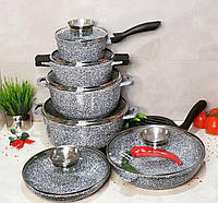 Набор кухонной посуды 14 предметов Edenberg EB-8040 Набор казанов (кастрюль) с гранитным покрытием