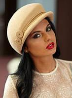 Модная женская кепка  из фетра с ободком