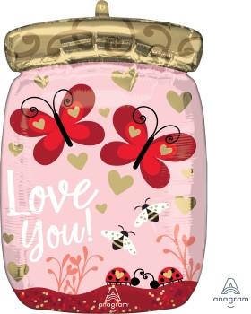 """А 15"""" x 19"""" Love Bugs & Butterflies JrShape Foil Ballo. Шар воздушный фольгированный Баночка с бабочками. В уп"""