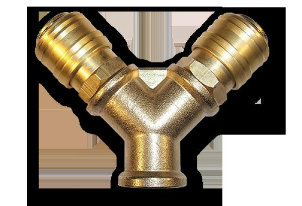 """Двійник РВ 3/8"""" + 2 коннектора - латунь, SP026"""