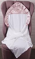 Детская крестильная крыжма Велена, белая с розовым