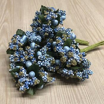 Тычинки бутоньерки голубые (6 шт) для флористики декорирования и творчества