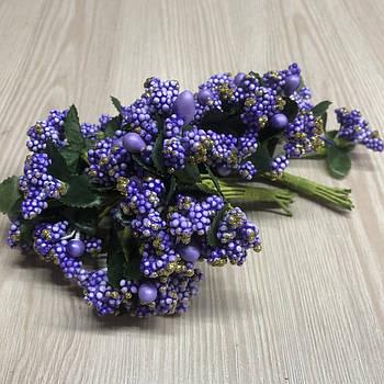 Тычинки бутоньерки фиолетовые сиреневые (6 шт) для флористики декорирования и творчества