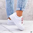 Женские белые кроссовки, экокожа, фото 3