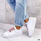 Женские белые кроссовки, экокожа, фото 5