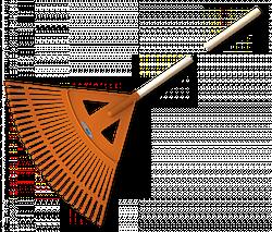 Граблі віялові - 27 зубців, дерев'яний держак, KT-CX27W