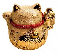 Счастливый кот - копилка Манеки Неко в золоте №1