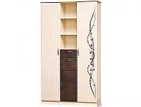 Шафа книжковий Світ Меблів Сакура 3Д 120×210×46 світлий венге/темний венге