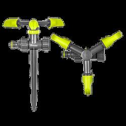 Ороситель вращающийся, 3-х рожковый на колышке,  LIME EDITION, LE-6102