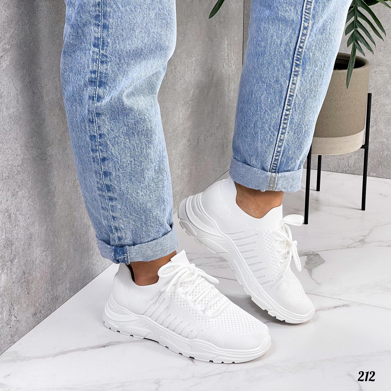 Женские белые кроссовки, обувной текстиль