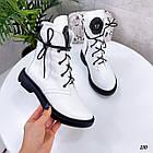 Демісезонні жіночі білі черевики, натуральна шкіра, фото 8