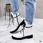 Демісезонні жіночі білі черевики, натуральна шкіра, фото 3