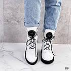 Демісезонні жіночі білі черевики, натуральна шкіра, фото 4
